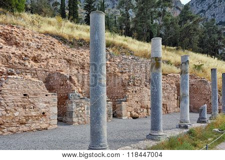 Columns of Ancient Greek archaeological site of Delphi, Greece