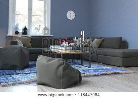Living Room Interior with Blue Walls, White Accents and Wood Floor - Tastefully Decorated Sitting Room with Comfortable Sofa, Woven Rug and Sunny Window. 3d Rendering.