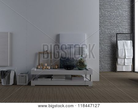 Interior of Modern Spacious Home - Detail of Low Shelf Decorated with Accents and Photographs Against Plain Wall with View of Towel Rack in Background Bathroom. 3d Rendering.