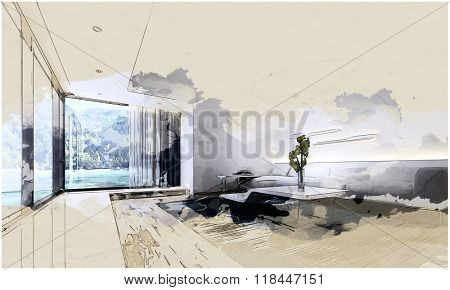 Graphic Illustration of Modern Living Room in Spacious Vacation Home with Contemporary Furniture and Large Picture Window with View of Beach and Mountains. 3d Rendering.