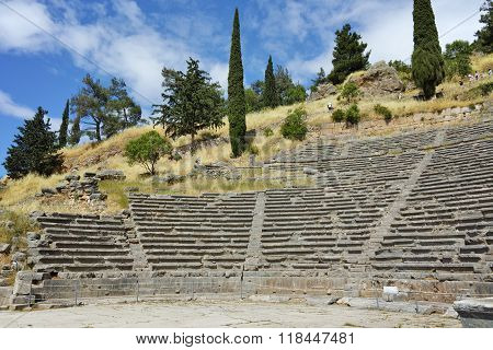 Amphitheater in Ancient Greek archaeological site of Delphi, Greece