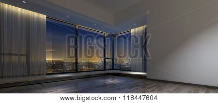 View of night time skyline from inside dim empty room with hardwood flooring, large windows and vertical blinds. 3d Rendering.