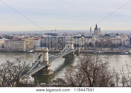 BUDAPEST, HUNGARY - FEBRUARY 02: High angle shot of Szechenyi Chain Bridge accross Danube River. February 02, 2016 in Budapest.