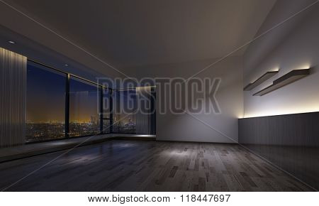 Interior view of empty dimly lit room with counters, shelves and hardwood flooring and large windows facing city. 3d Rendering.