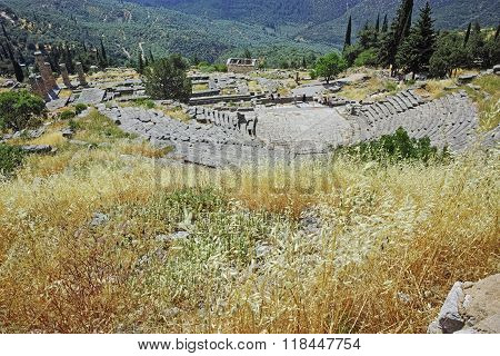 Panoramic view of Amphitheater in Ancient Greek archaeological site of Delphi, Greece