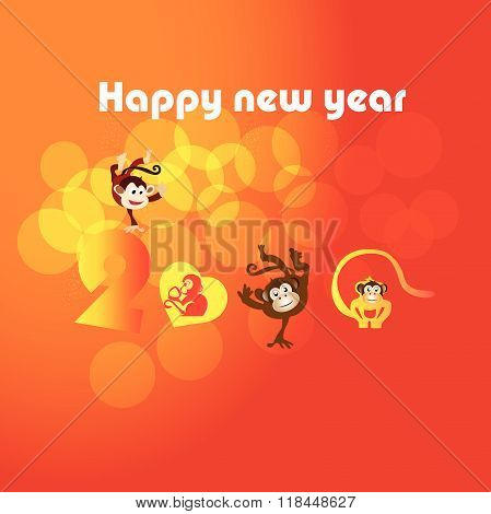 Monkey with happy New Year greeting card, 2016