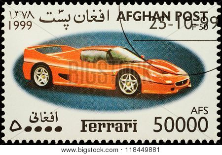 Sport Car Ferrari F50 On Postage Stamp