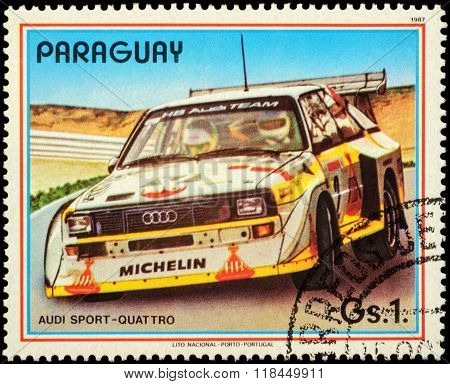 Rally Car Audi Sport Quattro On Postage Stamp