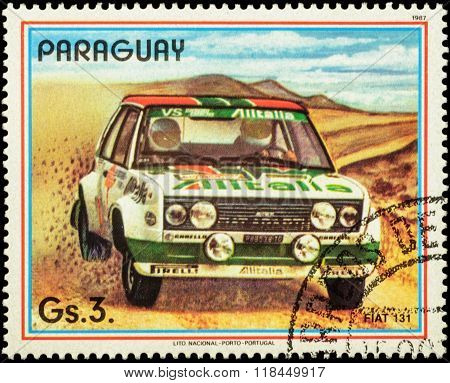 Rally Car Fiat 131 On Postage Stamp