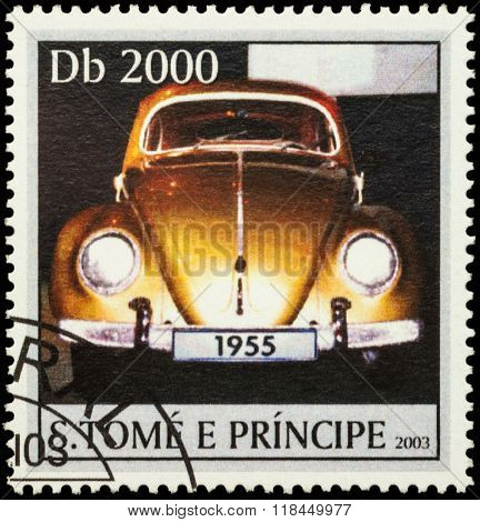 Orange Retro Car On Postage Stamp