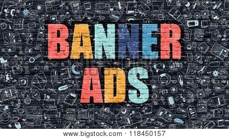 Multicolor Banner Ads on Dark Brickwall. Doodle Style.