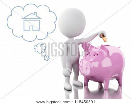 3D White People With Piggy Bank, Thinking Of Buying A New House.