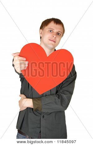Young Caucasian Man Offer Red Paper Heart, Decloration Of Love, Isolated