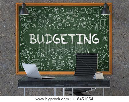 Budgeting - Hand Drawn on Green Chalkboard.