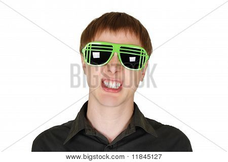 Young Man In Modern Club Sunglasses Grin Isolated