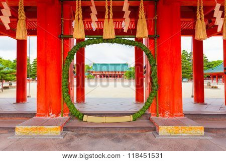 Heian Jingu Shrine Chinowa Kuguri Wreath Door H