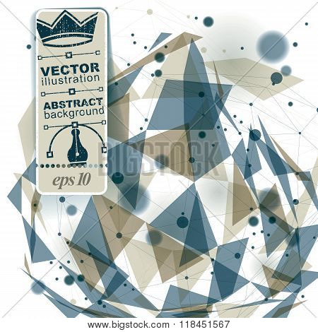 Spatial vector digital lattice backdrop. 3d mesh technology background with overlay spot elements geometric polygonal structure science and technology theme illustration. Connected dots.