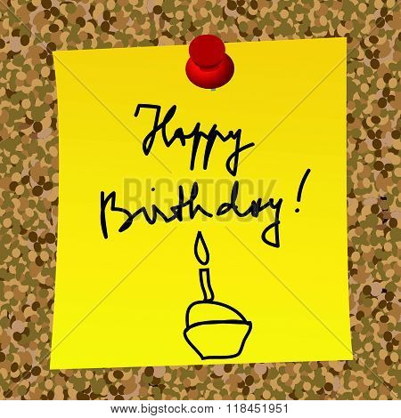 A Paper Note With Message Happy Birthday