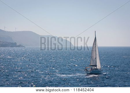 Yacht at an open sea