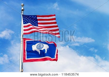 American And Wyoming State Flag