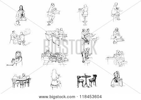 Vector Set Of Sketches Of People Sitting In Cafe