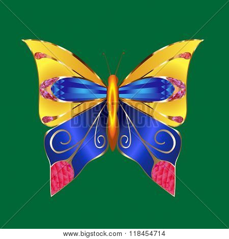 Glamour vector vintage golden butterfly with elegance ornament encrusted with blue jewels on dark gr