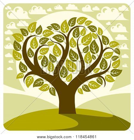 Art Vector Graphic Illustration Of Stylized Spring Tree Growing On Wonderful Meadow, Idyllic Landsca