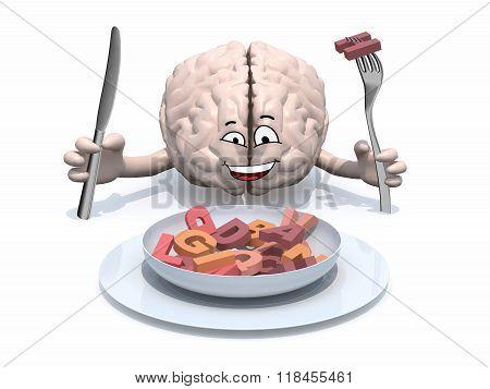 Cartoon Brain That Eats Letters
