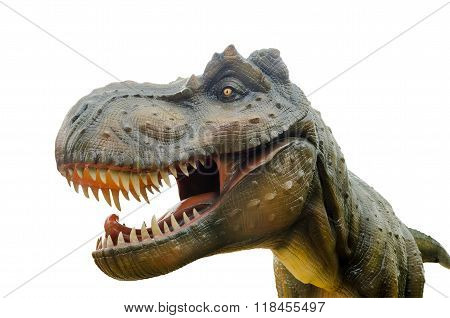 Aggressive T Rex On White Background.