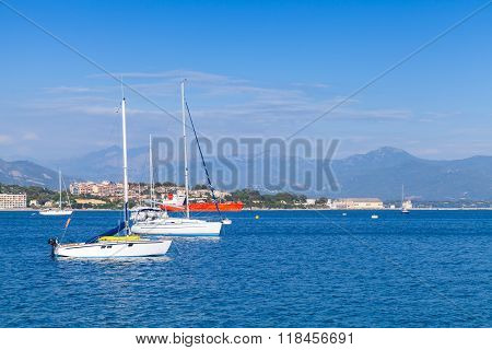 Sailing Yachts And Motorboats Moored In Bay Of Ajaccio