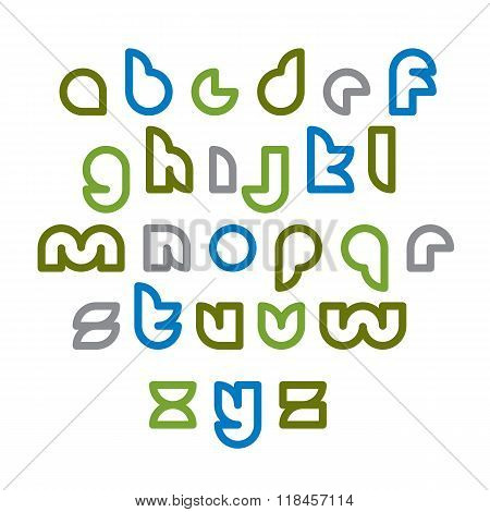 Clear Unusual Rounded Typescript, Colorful Light Green Lowercase Letters Isolated On White Backgroun