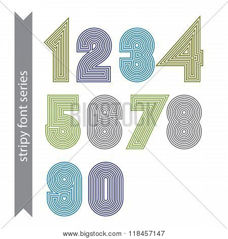 Geometric Numbers Made With Parallel Straight Lines. Light Contemporary Vector Numeration, Bright Po