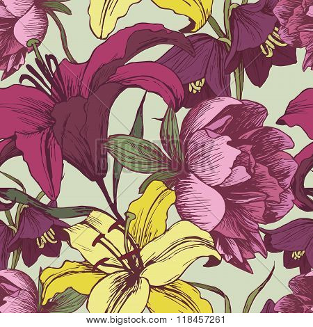 Floral seamless pattern with peonies and lilies.