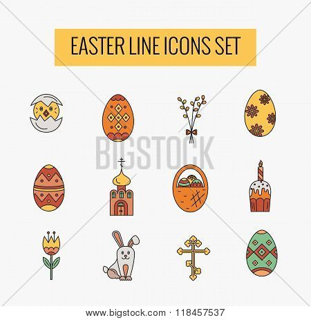Vector icons set of different Easter celebration elements.