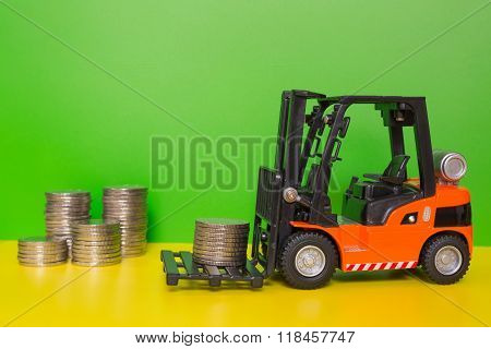 Forklift truck delivering coins