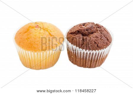 Two Various Sweet Muffins On A Light Background