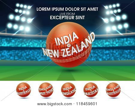 Cricket Sports concept with illustration of participant countries names on creative balls in stadium lights.