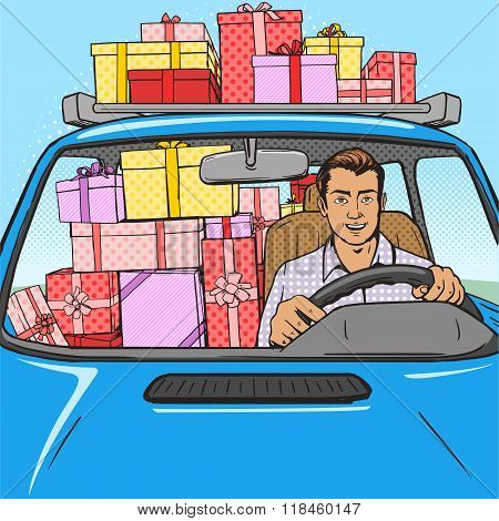 Man with gift boxes in car pop art style vector