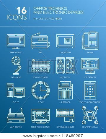 Detailed thin white line icons - Office technics and electronic devices