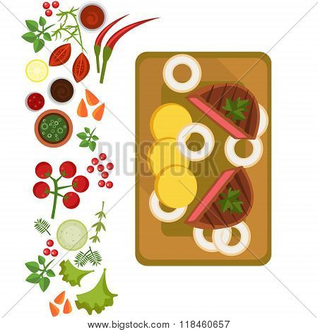 Served Steak on Plate. Vector Illustration
