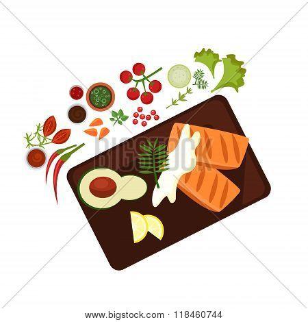 Cooked Steak on Plate. Vector Illustration