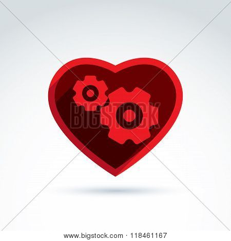 Vector illustration of a red mechanical heart. Love machine icon. Gears and moving parts placed in a heart.