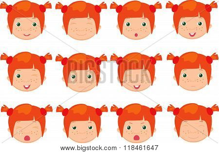 Red-haired Girl Emotions: Joy, Surprise, Fear, Sadness, Sorrow, Crying, Laughing, Cunning Wink
