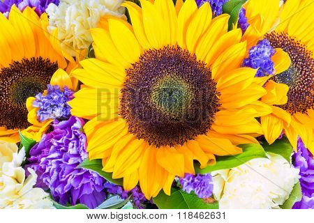 Flower Of Sunflower In A Bouquet With Other Flowers