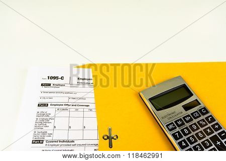 Tax Form 1095-c, Tax Form Details With Light Background
