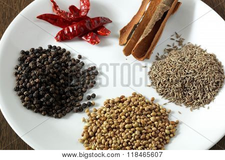 Top View Of Indian Colorful Spices.