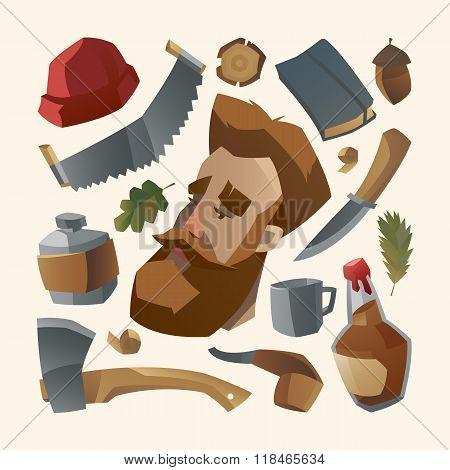 Lumberjack with red beard and his stuff