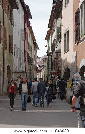 View Of The Street In City Centre Of Annecy