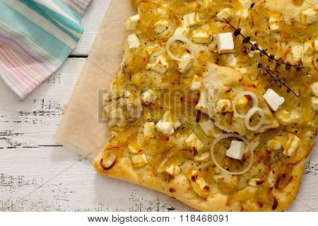 Focaccia With Cheese, Italian Bread On A Wooden Table