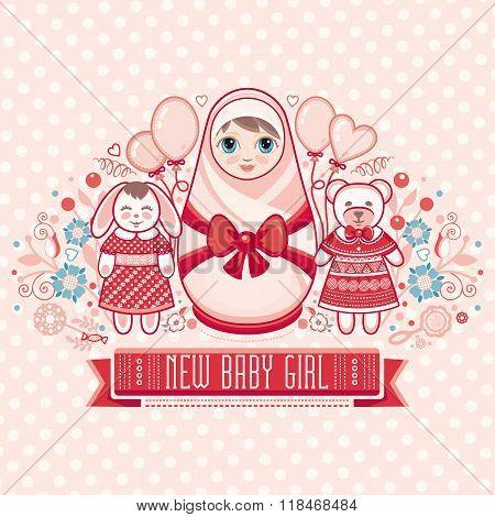 Newborn little baby. New little girl. Matryoshka.